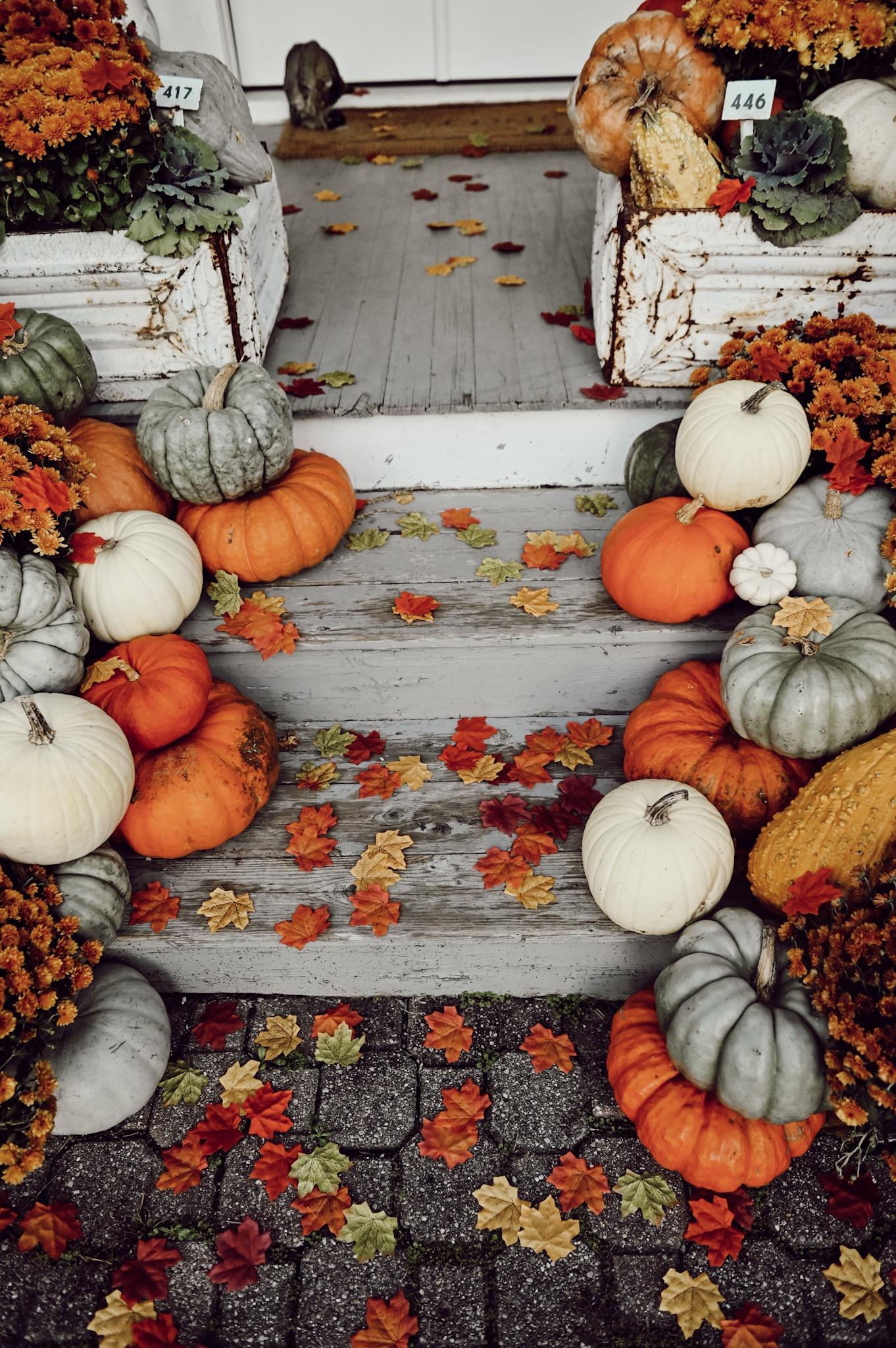 fall porch, Colorful Farmhouse Fall Porch Steps