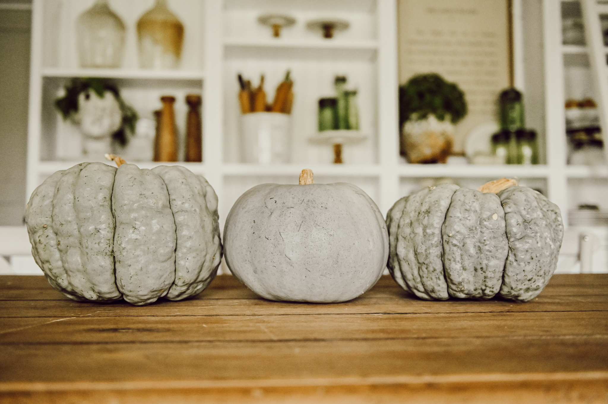 Simple Dining Room Table with pumpkins
