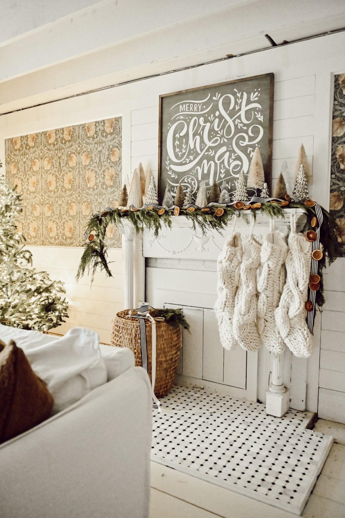 Christmas Mantel Decor With Diy Orange Garland Liz Marie Blog