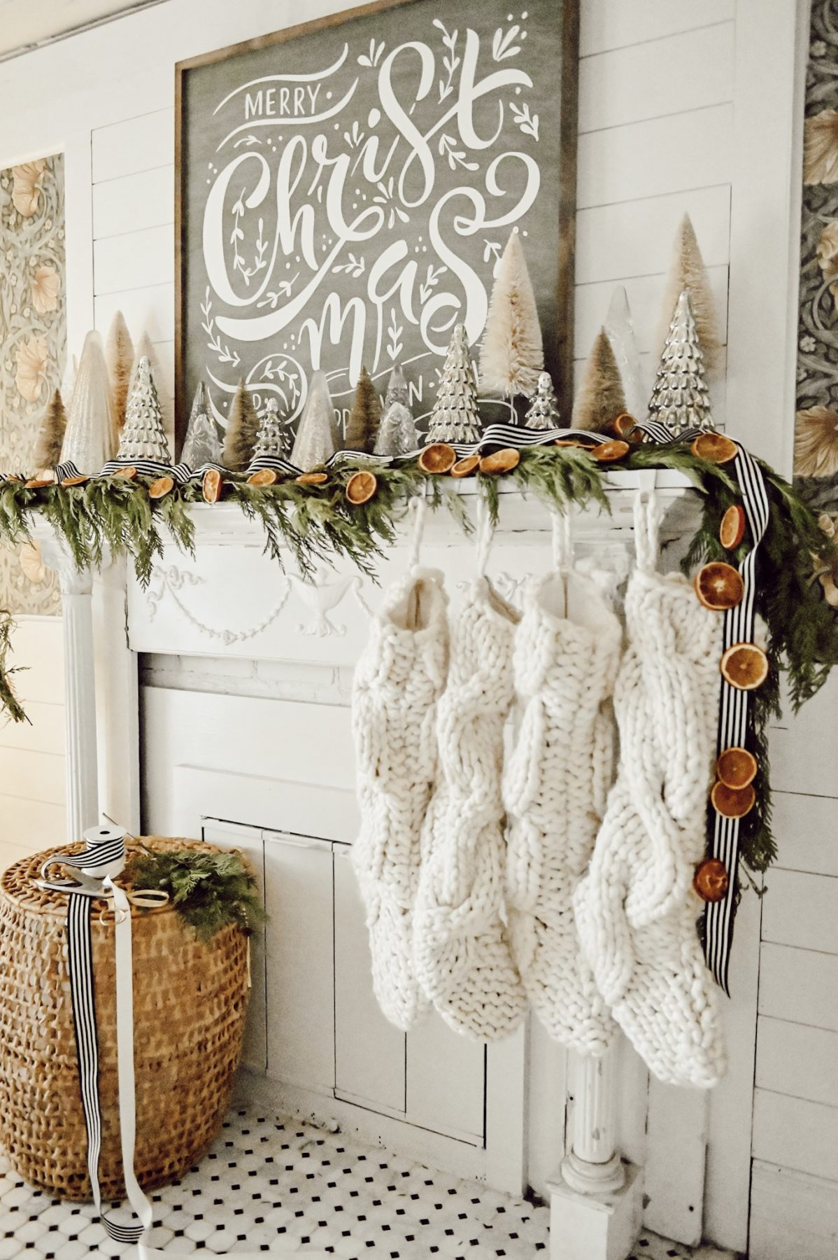 Christmas Mantel Decor with DIY Orange Garland