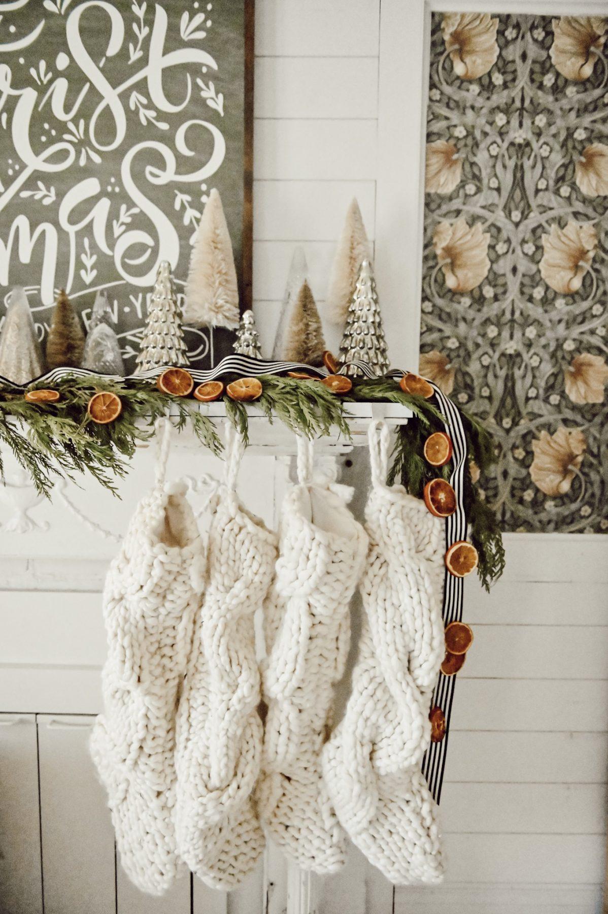 Christmas Mantel Decor With Diy Orange Garland Liz Marie Blog