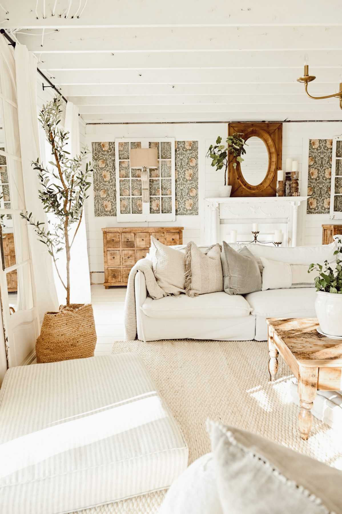 Cottage style white living room