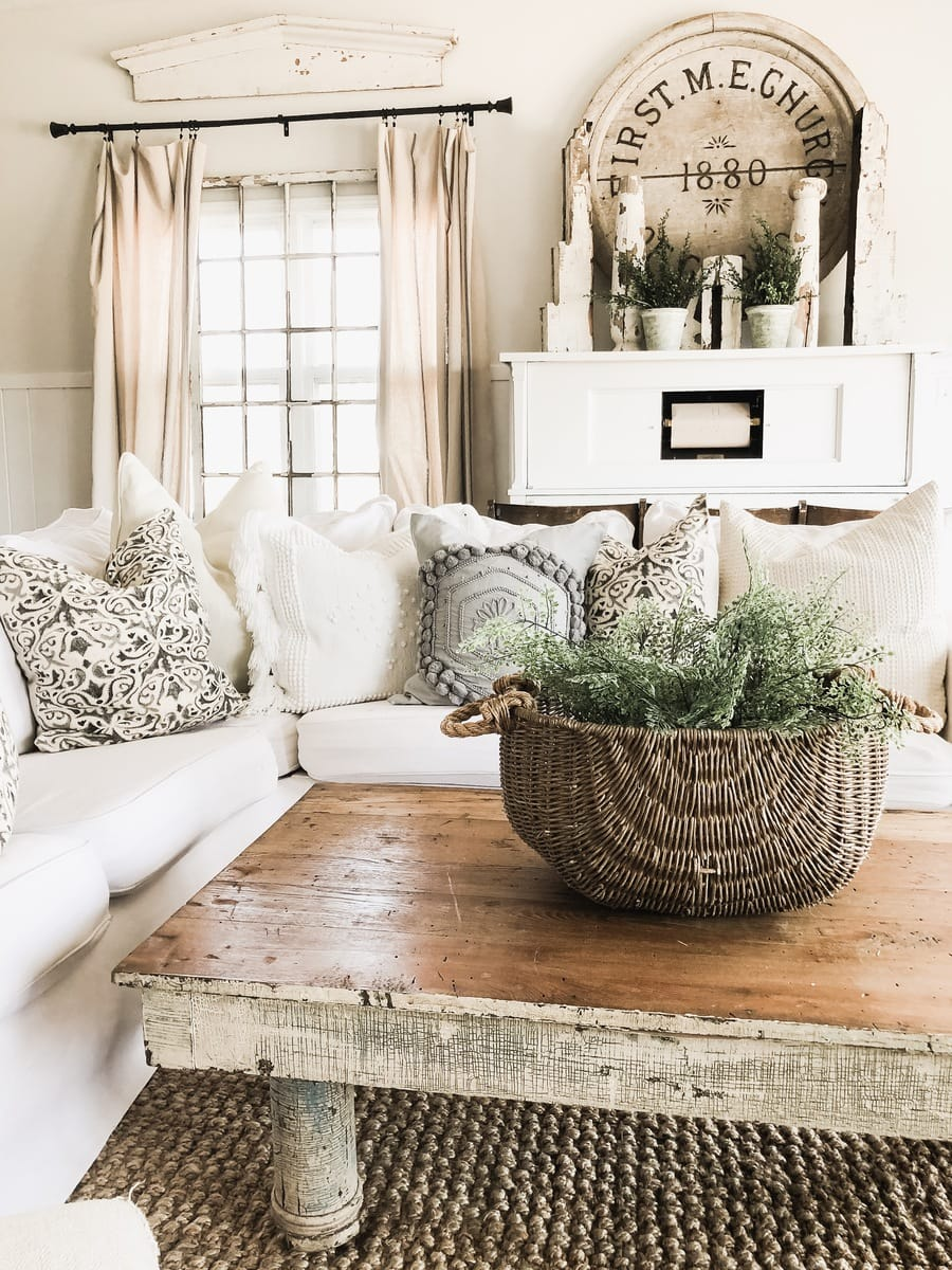 Bring in Faux Greenery in put it in a texture basket