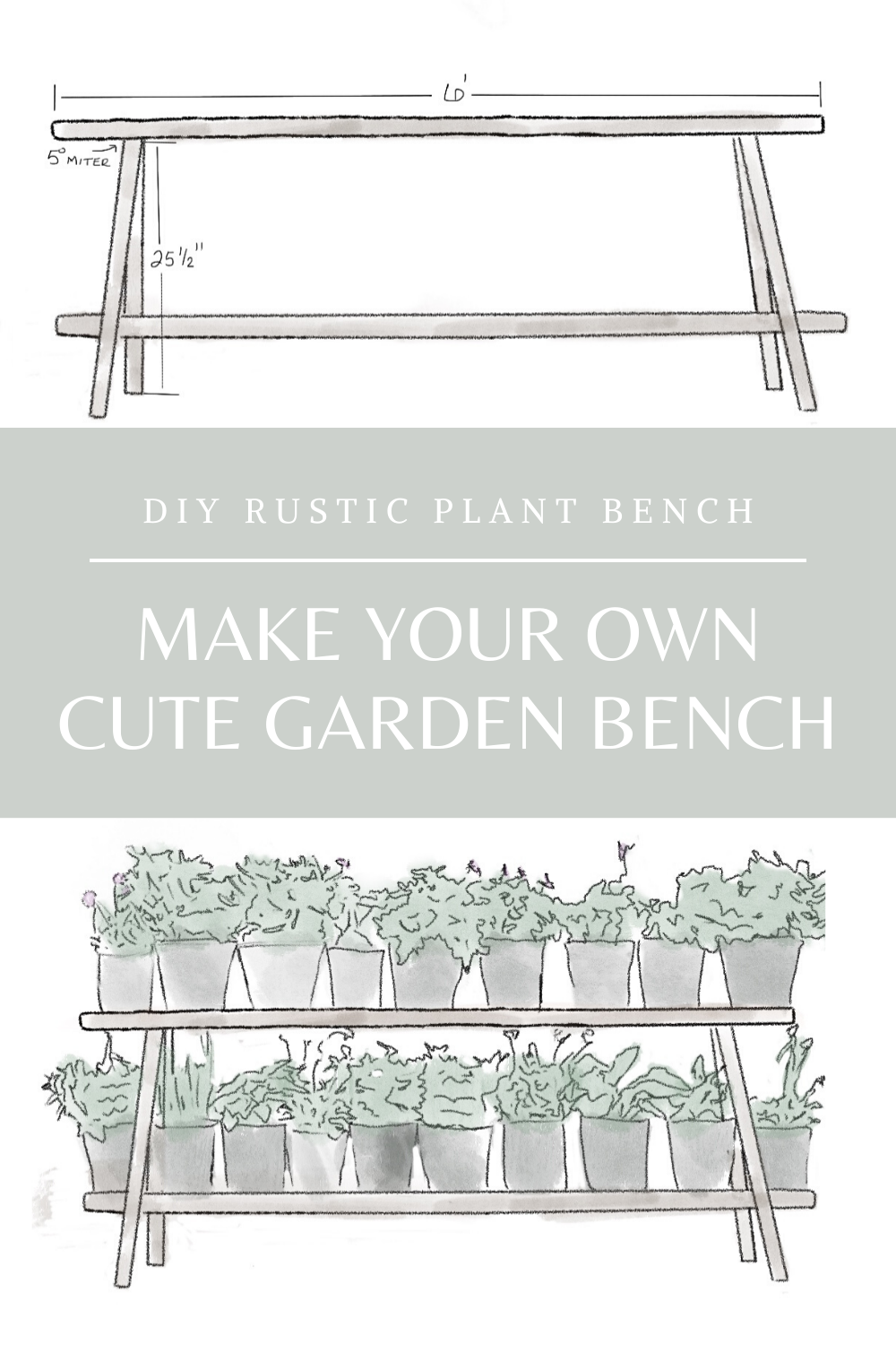 DIY Rustic Plant Bench Pinterest Graphic