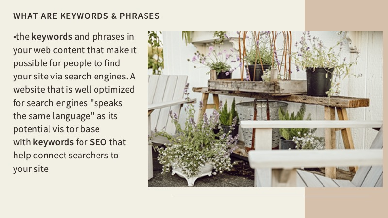 Keywords and phrases are truly what creates SEO for your website