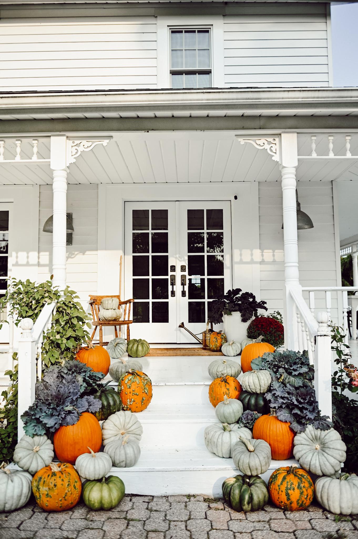 Kale & Pumpkin Porch Steps