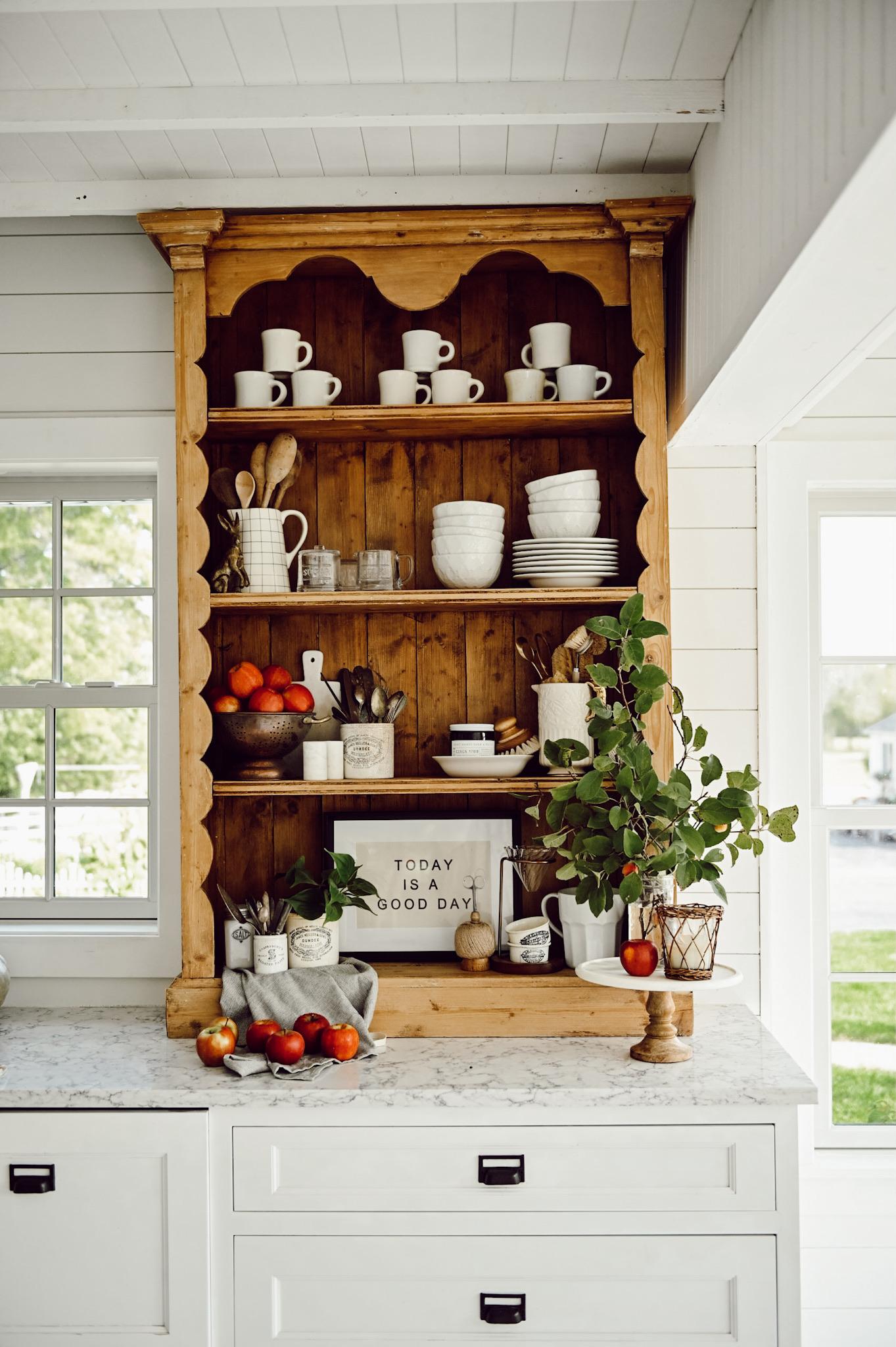 Pine Bookshelf In White Kitchen