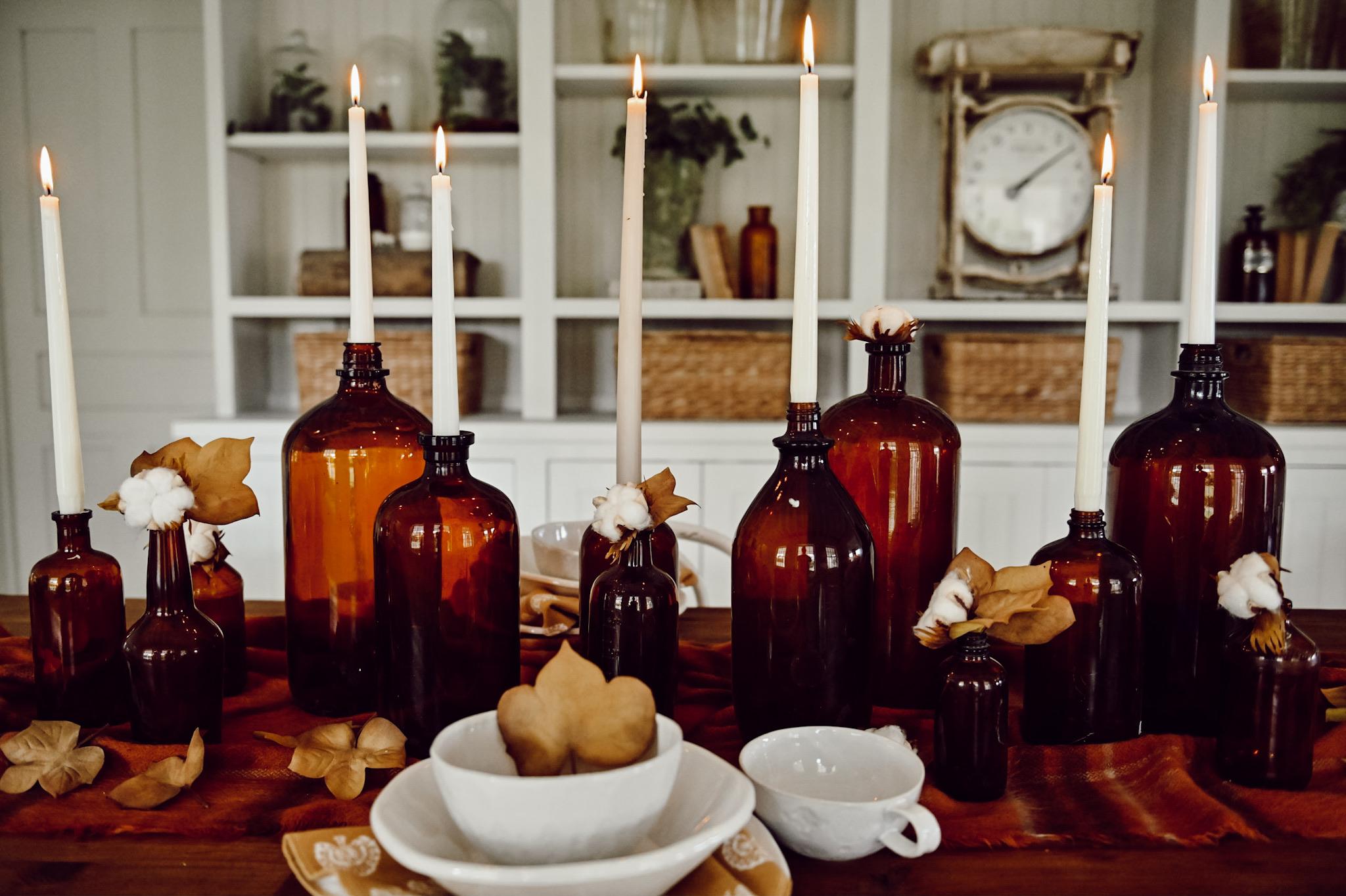 Fall Amber Bottle  Centerpiece