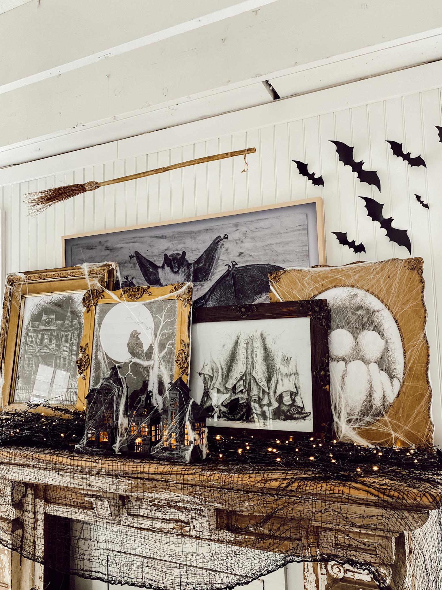 Antique Halloween Art Mantel