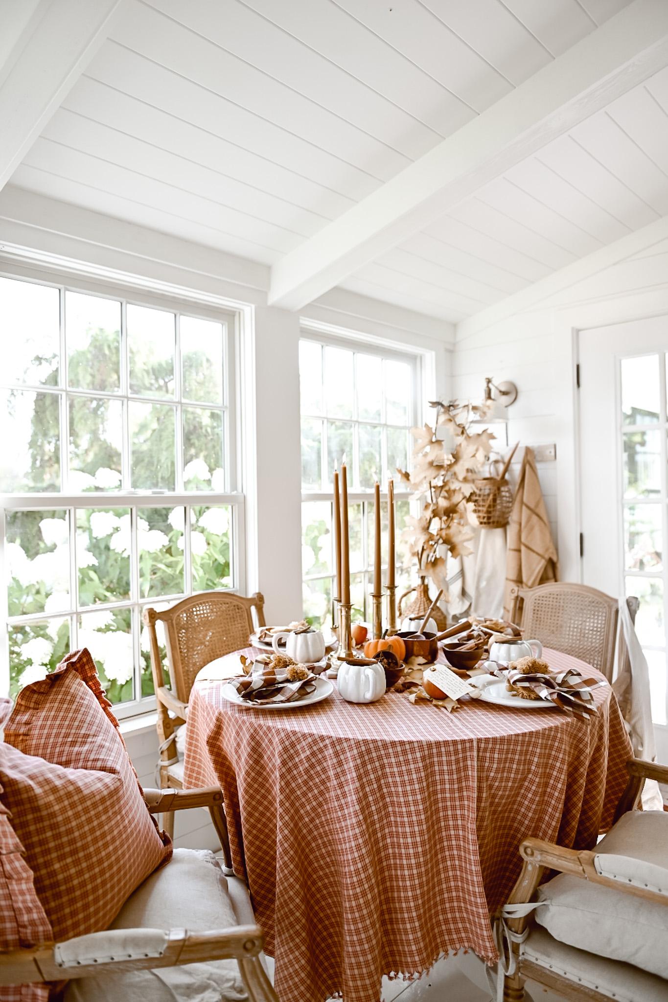 Pumpkin and Plaid Fall Table