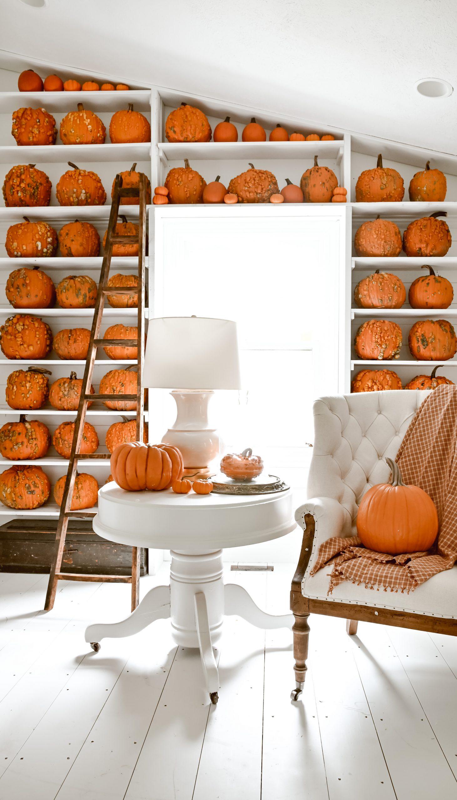 Ultimate Cozy Fall Pumpkin Bookshelf